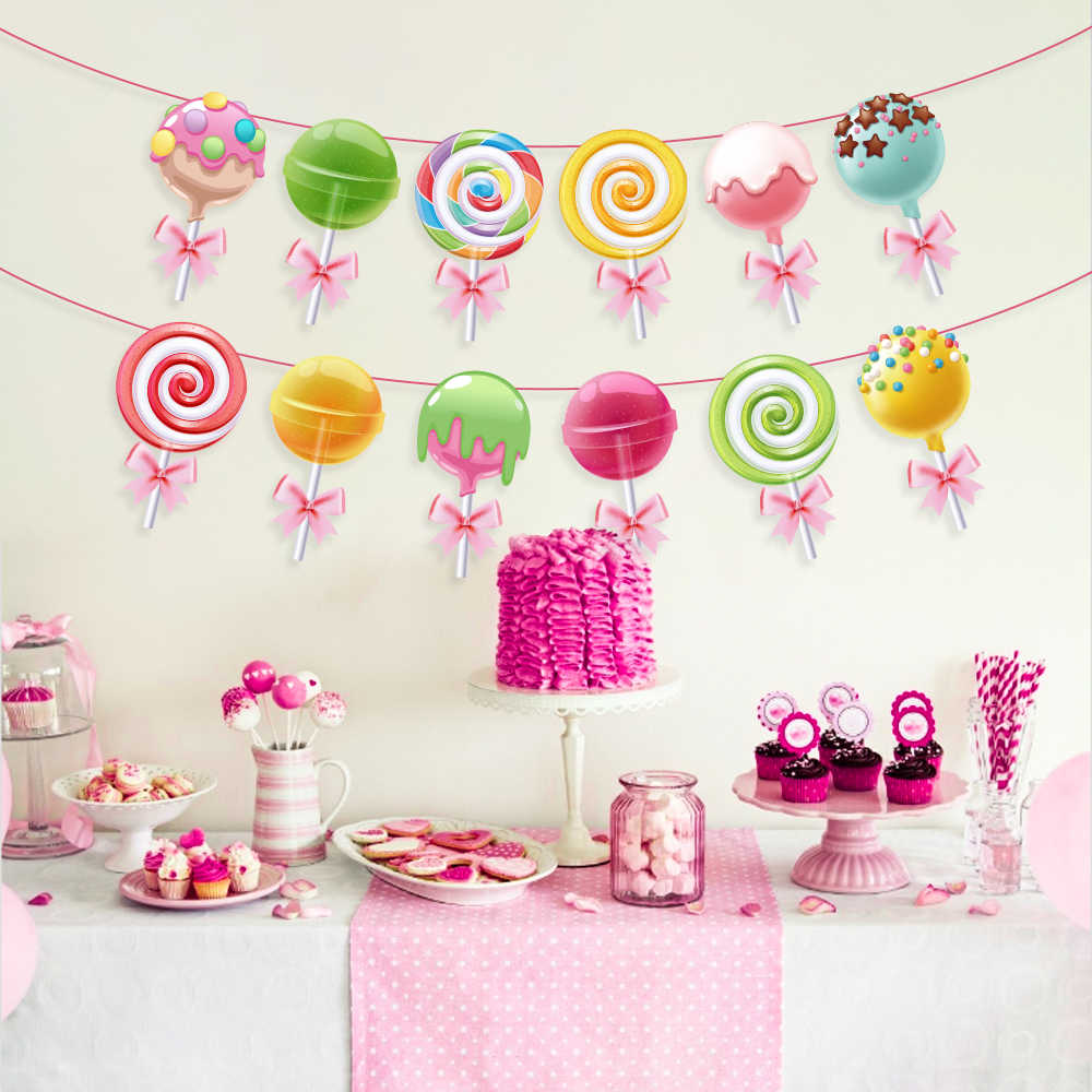 Baby Shower Sweet Lollipop Birthday Party Favors Kids Candy  Sugar Parties Decorations Hanging Bunting Banner Party Supplies