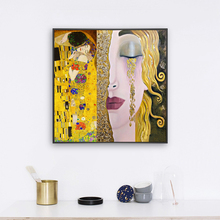 Gustav Klimt Kiss Famous Art Canvas Paintings on the Wall Art Posters And Prints Golden Tears Woman Classical Art Pictures Decor недорого