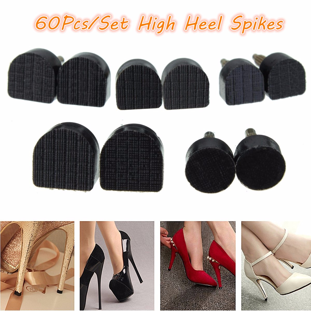 60Pcs/Set 5-Sizes High Heel Tips Spikes Taps Dowel Lifts Replacement Heel Stoppers Protector Lady Stiletto Women Shoe Repair Tip