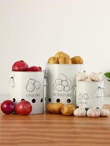 Bin Storage-Box Buckets Food-Container Potatoes-Onions Garlic Kitchen Breathable White