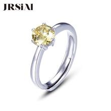 JRSIAL 925 แหวนเงินแท้เกาหลีแฟชั่นผู้หญิงเล็กๆแหวนคลาสสิก Citrine ปรับขนาดได้แหวน