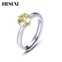 JRSIAL   925 Sterling Silver Jewelry Ring Korean Fashion Small Fresh Woman Ring Classic Citrine Resizable Ring