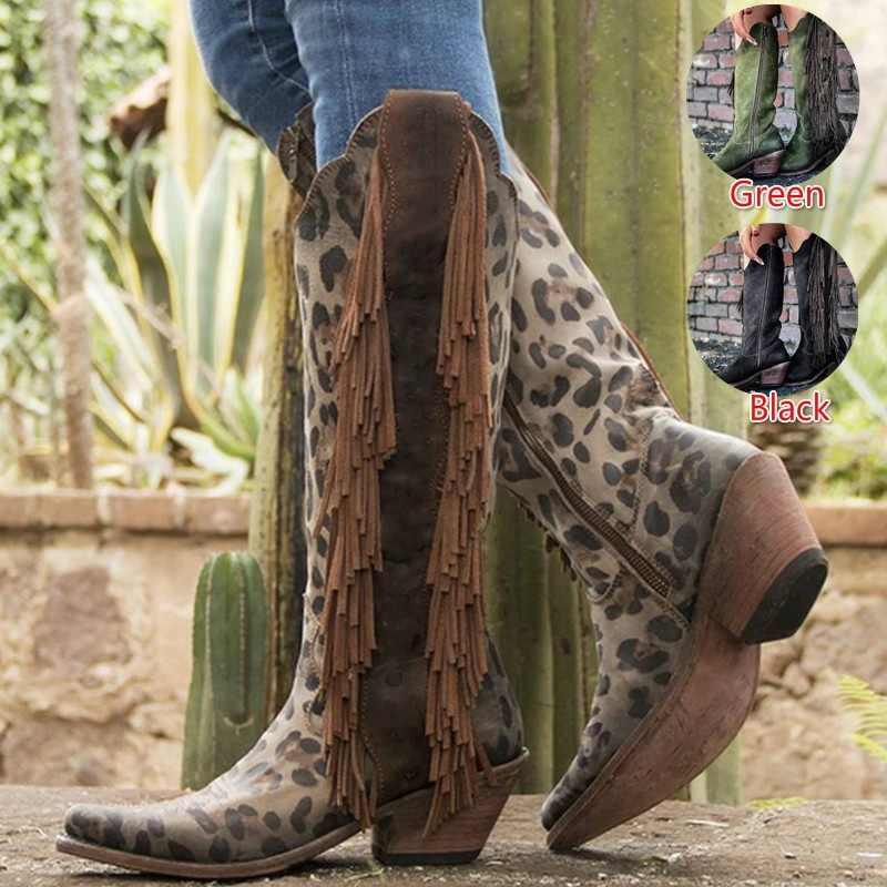 New Women Leather Boots Vintage Tassel
