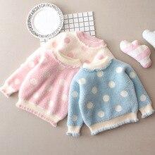 Плотный свитер с начесом для девочек на осень и зиму, Свободный пуловер для детей 1, 2, 3, 5 лет, вязаный свитер в горошек из норки, Cashm
