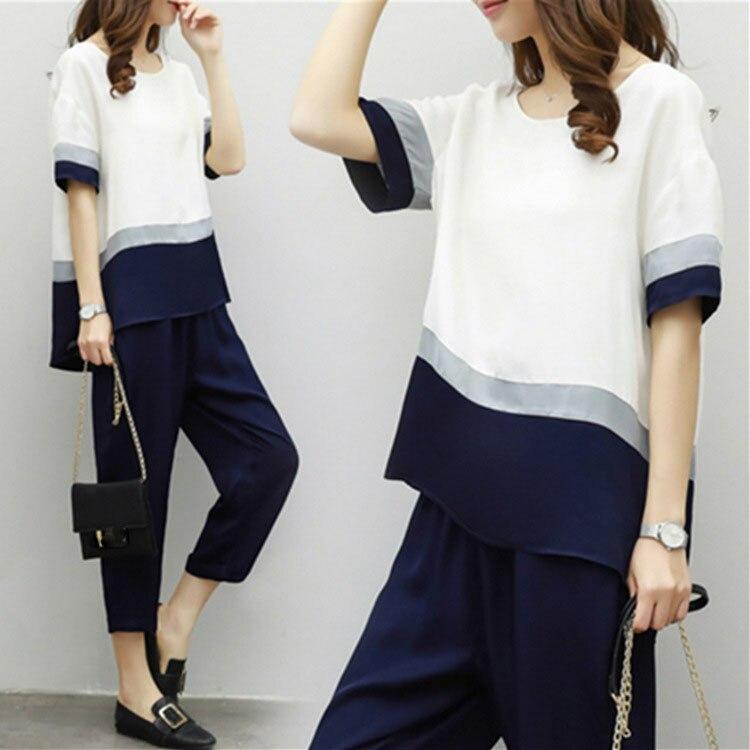 Nice Summer Tide O Neck 2 Piece Set Women Casual Short Sleeve Loose Suit Plus Size Patchwork Color Chiffon Suit