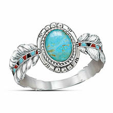 2019 Fashion Hot Sales Ring 925 Silver Turquoise Women Jewelry Feather Wedding Gift Size 6-10(China)
