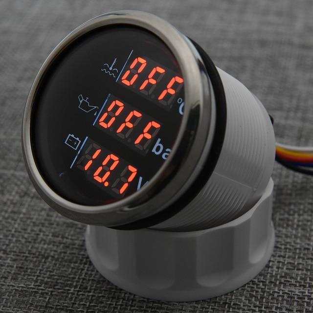 مقياس رقمي 3 في 1 ، شريط درجة حرارة الماء ، مقياس ضغط الزيت مع إنذار ، الفولتميتر ، مقياس درجة حرارة الماء IP67 ، الضوء الأحمر