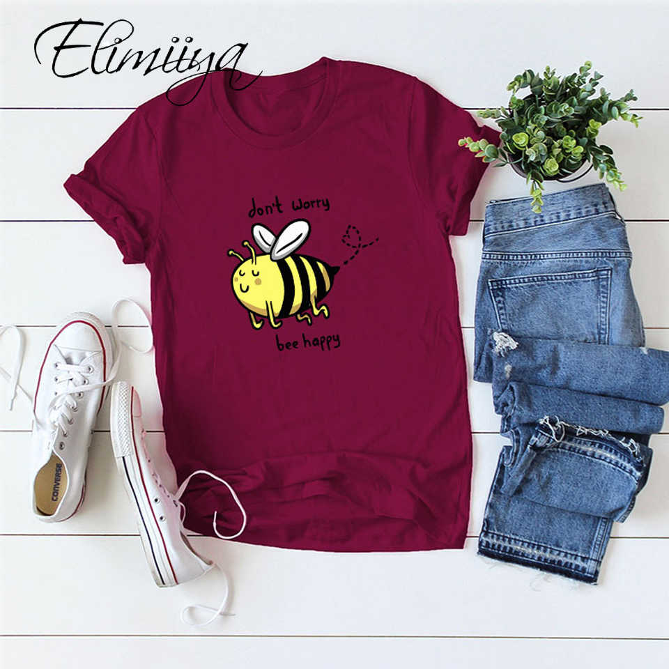 Elimiiya 대형 티셔츠 꿀벌 해피 프린트 티셔츠 여성 여름 의류 2020 루즈 퍼니 티 탑 셔츠 4XL 5XL 여성