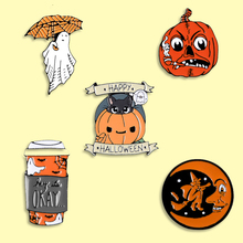 Halloween pumpkin Enamel Pin Orange Bottle Ghost Badges Brooches Denim Clothes Bag Lapel Pin Jwewlry Gift For Friends Kids game machine enamel pin cartoon pink blue game pad badges brooches denim clothes bag lapel pin jwewlry gift for friends kids