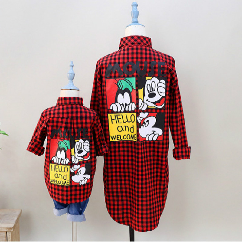 Mother And Daughter Matching Clothes Long Sleeved Shirt Mum And Son Outfits Family Look Red Plaid Clothing For Children Outwear