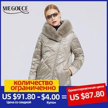 MIEGOFCE 2020 di Inverno delle Nuove donne del Cappotto del Cotone Con Elegante Del Collare della Pelliccia Del Coniglio Del Rex Giacca Lunga di Inverno Delle Donne Parka Antivento giacca