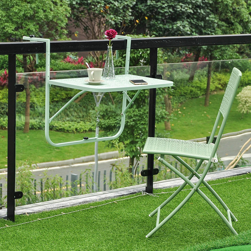 European Style Simple Mini Balcony Hanging Table Railing Iron Hanging Hanging Folding Table Wall Hanging Learning Small Table