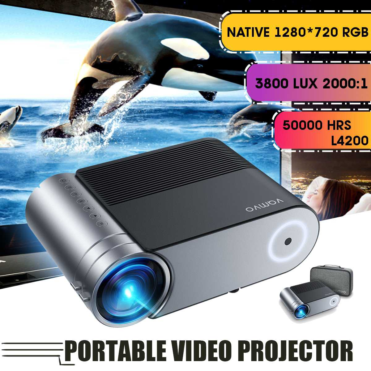 1080P Volle HD 4000 Lumen LED Projektor 4K USB Portable Multimedia Home 3D Kino Proyector Für Android/ IOS HDMI VGA AV USB