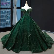 Waulizane бальное платье без бретелек, Quinceanera, темно зеленое кружевное платье с блестками