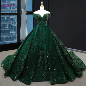 Image 1 - Waulizane Strapless Ball Gown Quinceanera Dress Of Sequin Lace Dark Green Quinceanera Gown