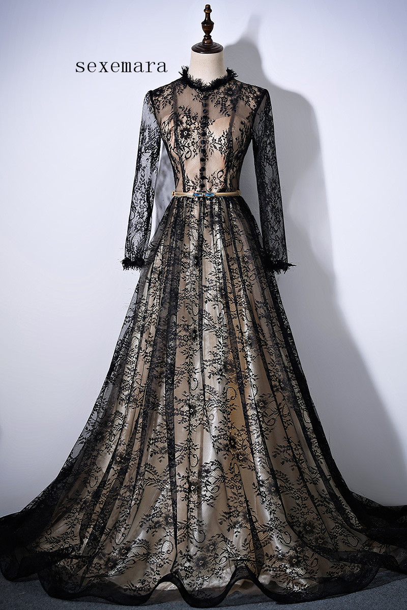 Free Shipping 2018 Vintage Vestido De Noiva Longo Party Evening Gown Custommade Long Sleeves Lace Mother Of The Bride Dresses