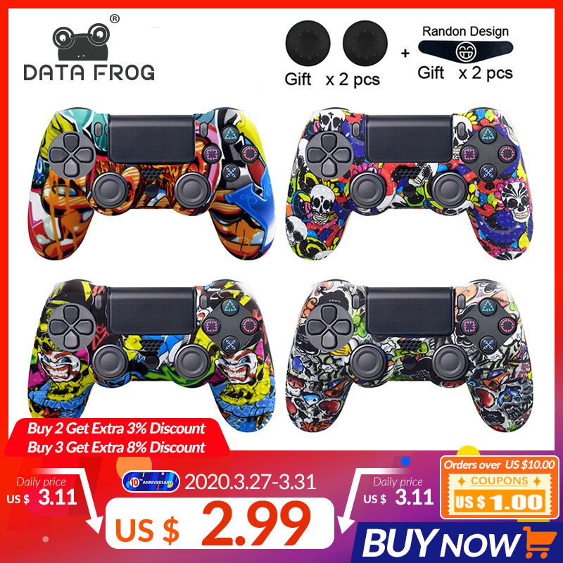 DATA FROG Protective Skin Case Anti-slip Silicone Camo  For Sony PS4 Pro Slim Playstation 4  Controller Thumb Grips Joystick Cap