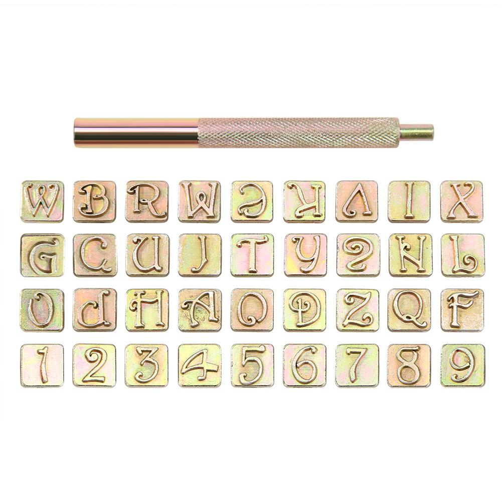 36pcs Wood Leather Copper Punching Stamp Set Mark Clearly DIY Handicraft Art Carbon Steel Metal Alphabet Stamps Tools
