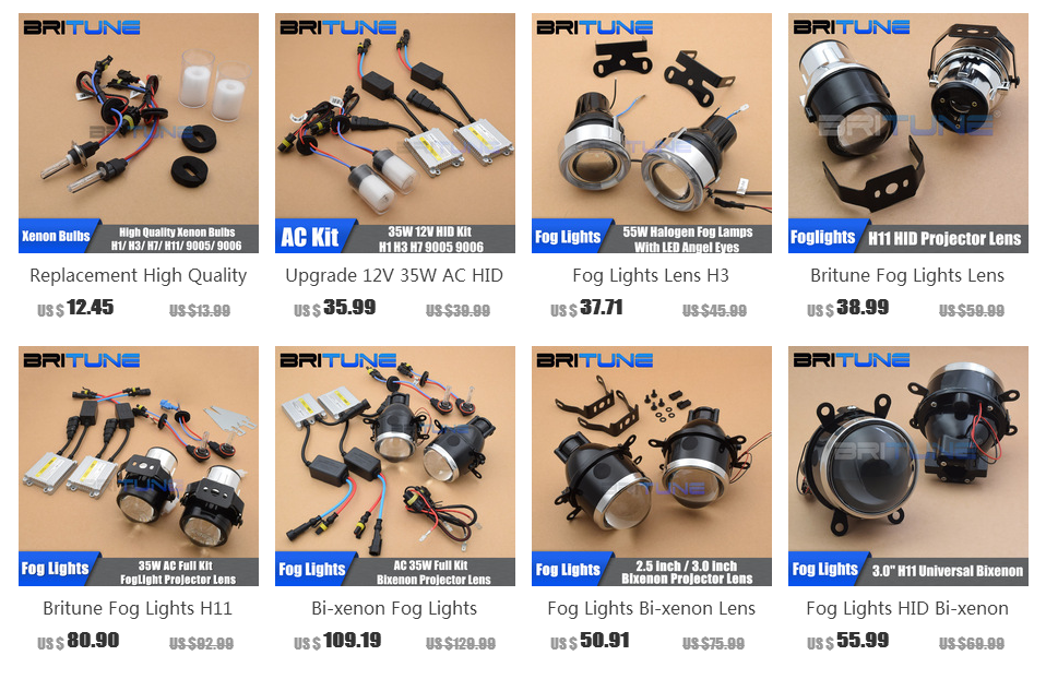 Britune Универсальный противотуманный светильник светодиодный ангельские глазки автомобильные линзы H11 HID проектор водонепроницаемый автомобильный светильник в сборе аксессуары для настройки 2,5/3,0