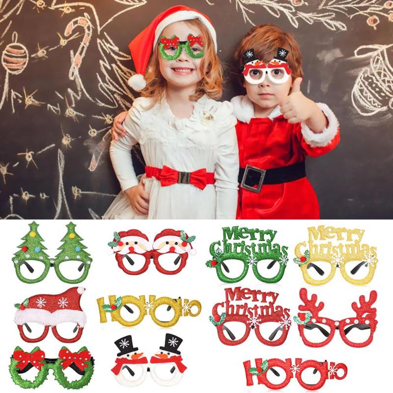 1pc Christmas Decorations For Party Decor New Year Glasses Frame Gifts For Children Santa Claus Antler Glasses Xmas Toys
