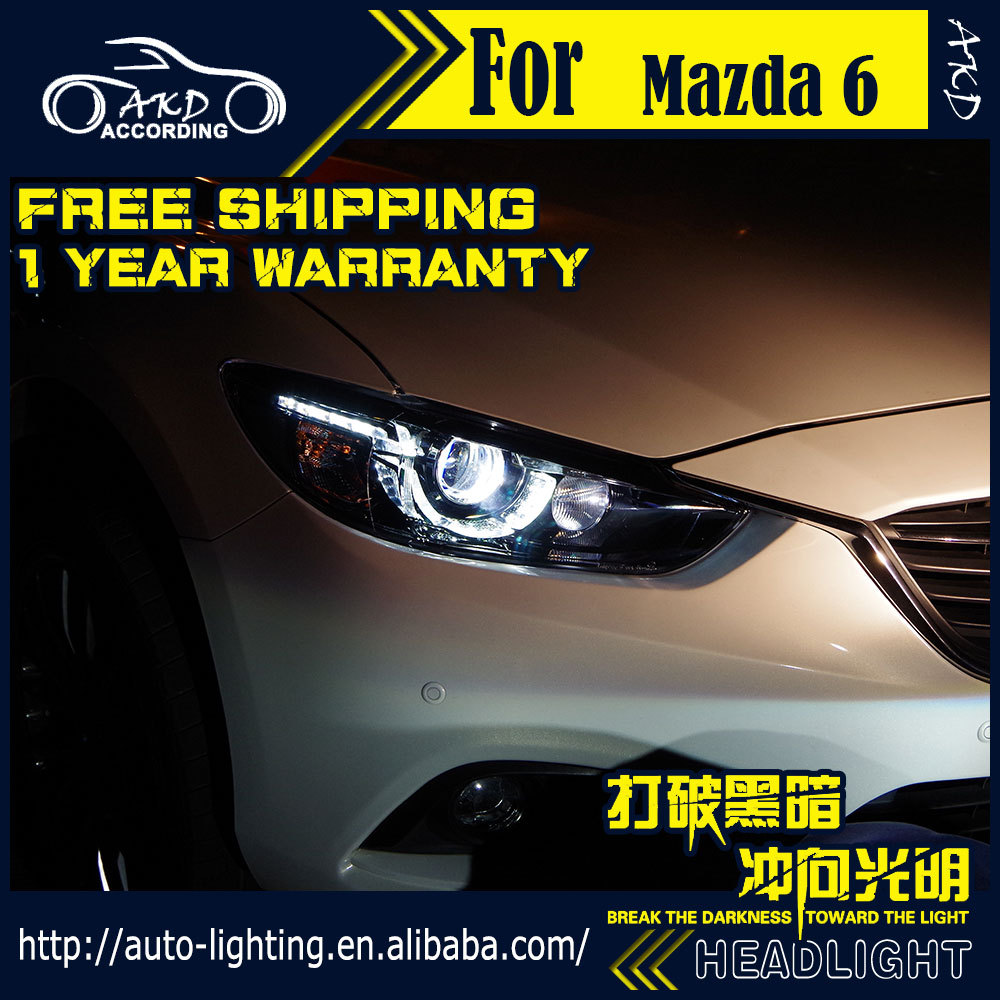 AKD Car Styling lámpara de cabeza para Mazda 6 faro 2017 Nuevo diseño Mazda 6 Atenza LED DRL H7 D2H Hid opción Ojo de Ángel Bi Xenon haz