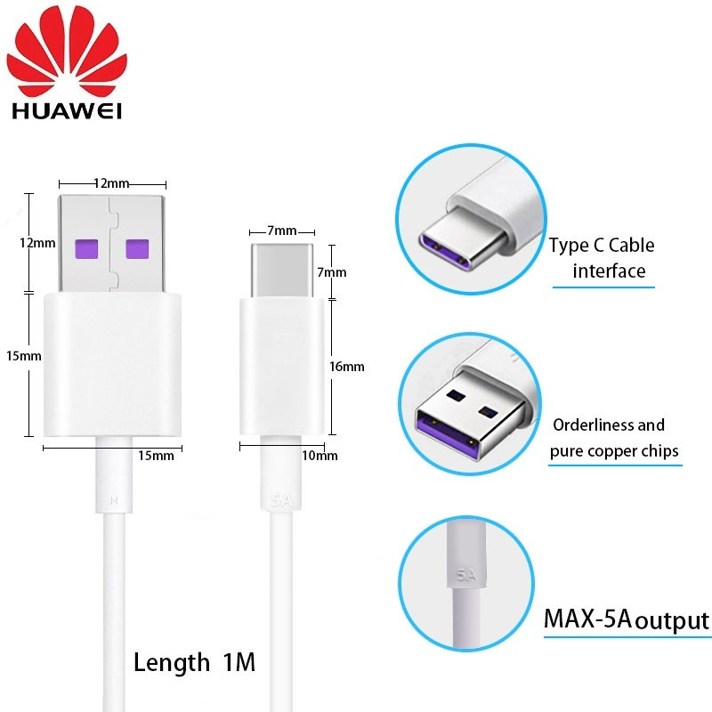 100%Original Huawei Type C Cable 5A Super Data USB Cable  Purple Line (white)High Current Fast Charge Multi-layer Security