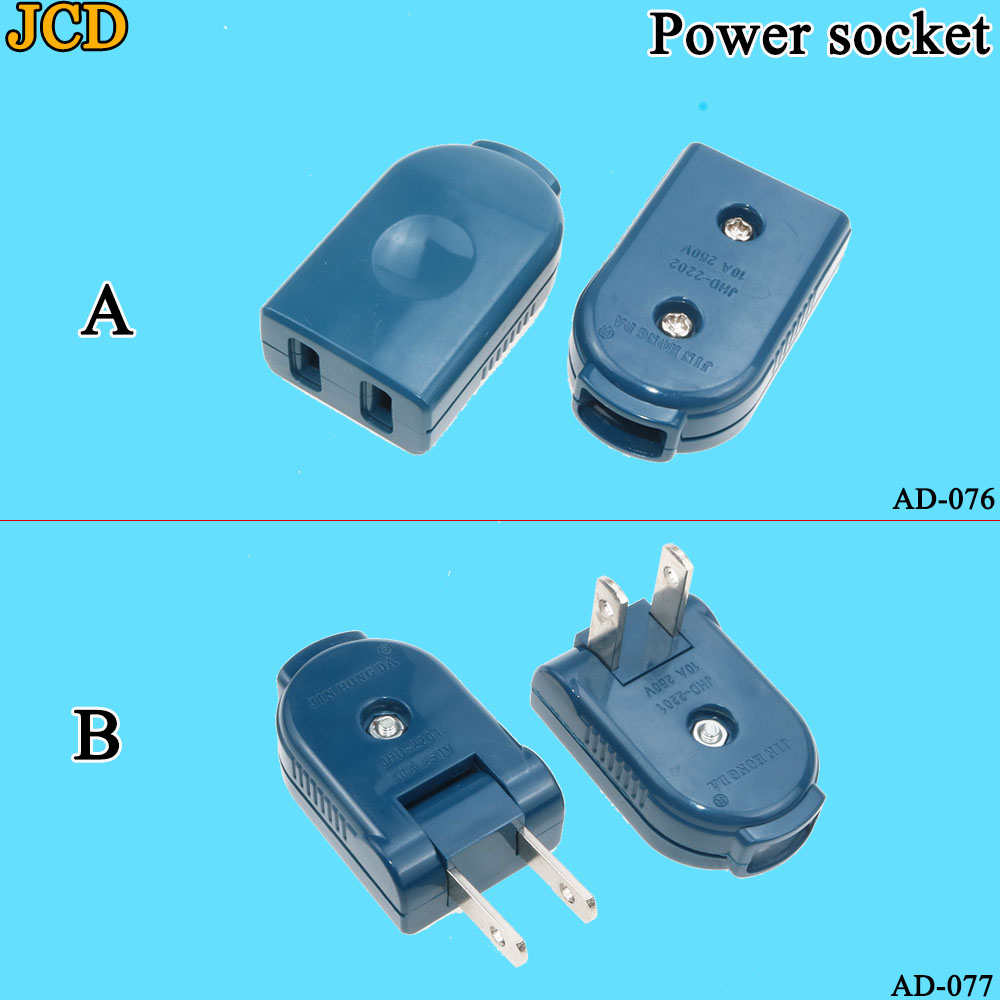 US American <font><b>2</b></font> <font><b>Pin</b></font> <font><b>AC</b></font> Electrical Power Male Plug Female Socket Outlet Adaptor Adapter W/ Wire Rewireable Extension Cord <font><b>Connector</b></font> image