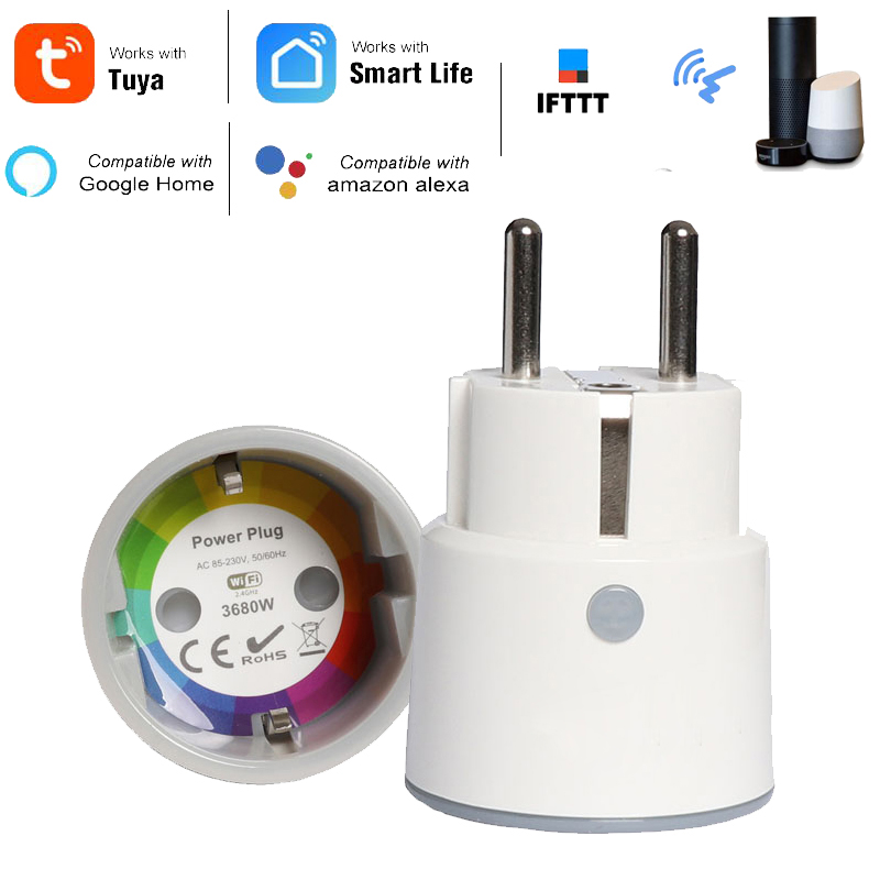 Haozee Smart Plug WiFi Socket 3680W 16A Power Energy Monitoring Timer Switch EU Outlet Voice Control By Alexa Google IFTTT