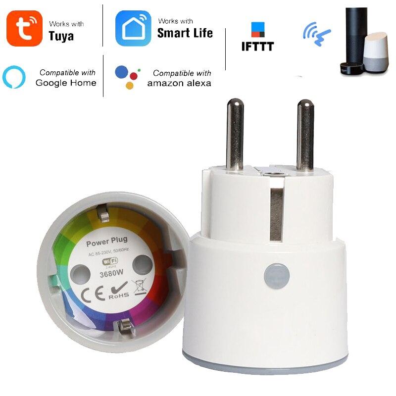 Haozee Inteligente Plugue Wi-fi Interruptor Do Temporizador Tomada 3680W 16A Poder de Monitoramento de Energia DA UE Tomada de Controle de Voz por Alexa Google IFTTT