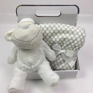 Image 2 - Boîte cadeau avec Animal mignon 75x100cm, couverture en velours de corail, jouet en peluche, lapin et éléphant, literie pour bébé