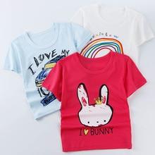 купить 2019 Summer Kids Boy T Shirt Crown Print Short Sleeve Baby Girls T-shirts Cotton Children T-shirt O-neck Tee Tops Boy Cloth 2-8Y по цене 325 рублей