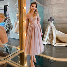 Pink Short Prom Dresses 2021 Sexy Sweetheart Off the Shoulder Backless Tea-Length Tulle A-Line Party Dresses Tiered Skirt
