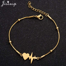 Jisensp Eenvoudige Rvs Heartbeat Armband Vrouwen Mode-sieraden ECG Paar Hart Armbanden Armbanden Vrienden Pulseras Muje