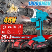 25 28Nm 13000mah 48V Home Electric Screwdriver Cordless Drill Lithium Dual battery Wireless Rechargeable Hand DIY Electric Drill