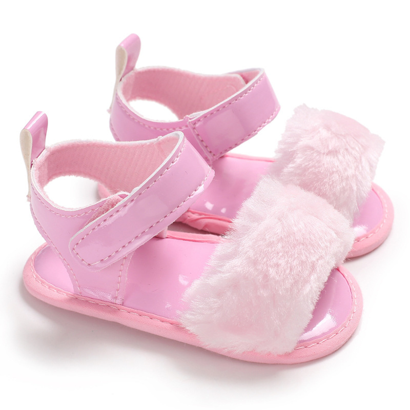 Baby Shoes Girl Sandals Soft Anti-Slip Sole Princess Pink Short Plush Summer First Walker Infant Toddler Crib Shoes Sandals