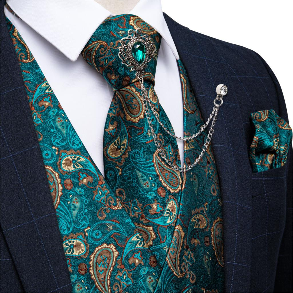 New Teal Green Paisley 100% Silk Formal Dress Vest Men Waistcoat Vest Wedding Party Vest Tie Brooch Pocket Square Set DiBanGu