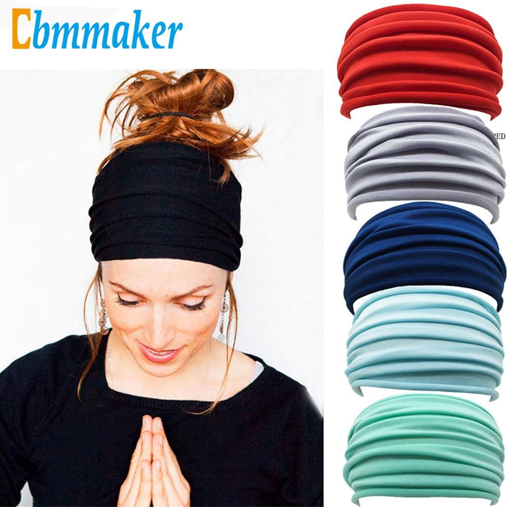 1 pc cor sólida dobra yoga bandana antiderrapante elástico elástico elástico hairband turbante correndo headwrap ampla acessórios esportivos|Faixas de cabelo p/ ioga|   -