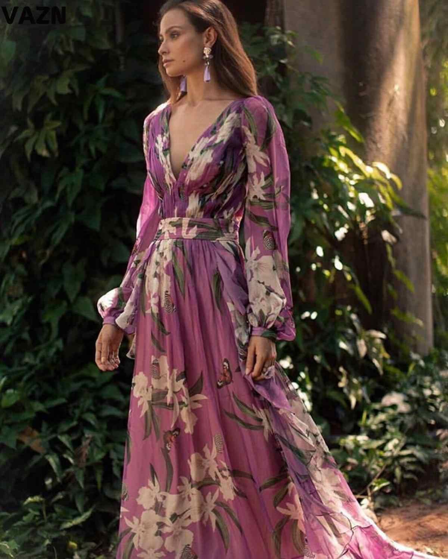 VAZN 2020 새로운 레트로 인기 인쇄 휴일 무료 섹시한 Untidy 스타일 깊은 v-목 전체 슬리브 높은 허리 여성 조젯 맥시 드레스