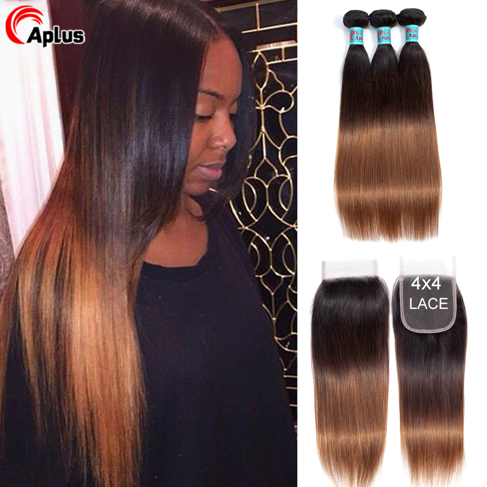Ombre Bundles With Closure Straight Human Hair Bundles With Closure Highlight Blonde Closure With Bundles Malaysian Remy Hair