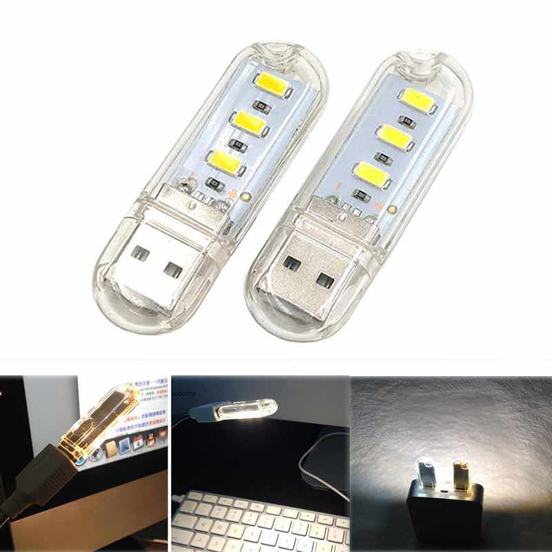Draagbare Mini Led Nachtlampje Camping Apparatuur Usb Power 3 Led Licht 25630 Chips Lamp Led Sleutelhanger Usb Warm Wit licht