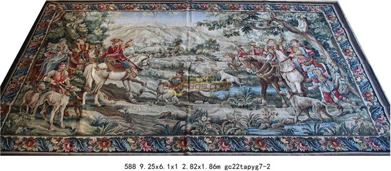 Antieke Franse Hand Geweven Mooie Bloemen Aubusson Vierkante Antieke Wandtapijt Gedrukt Home Decoratieve Plein
