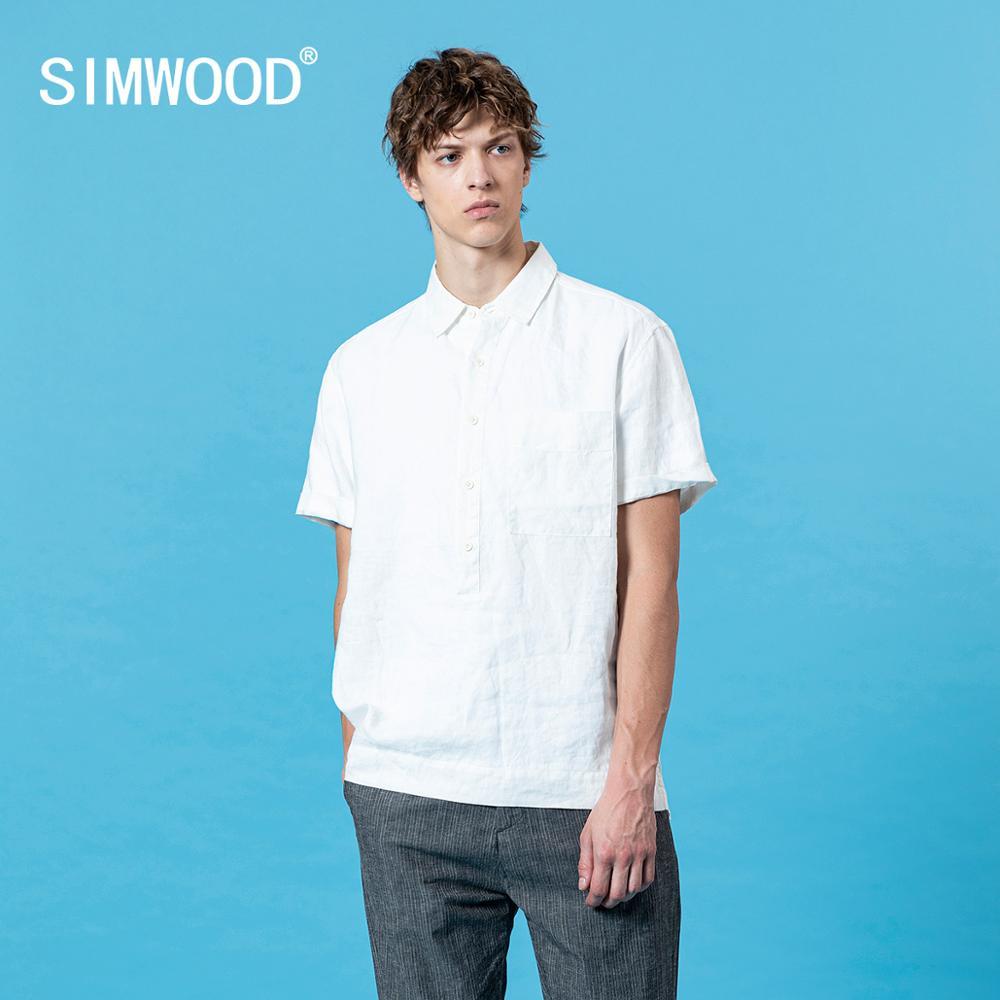SIMWOOD 2020 Summer New Short Sleeve Shirts Men Breathable Linen Cotton Shirt Chest Pocket Plus Size Quality Clothes SJ170362