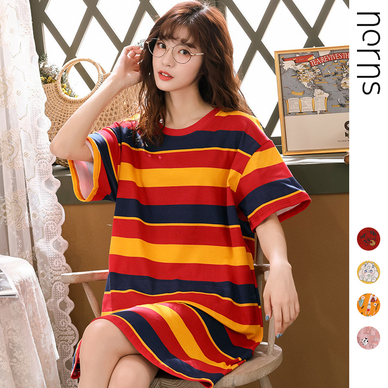Norns Multi-style Nightdress Female Summer Korean Knitted Cotton Home Service Sweet Cartoon Pajamas Loose Large Size