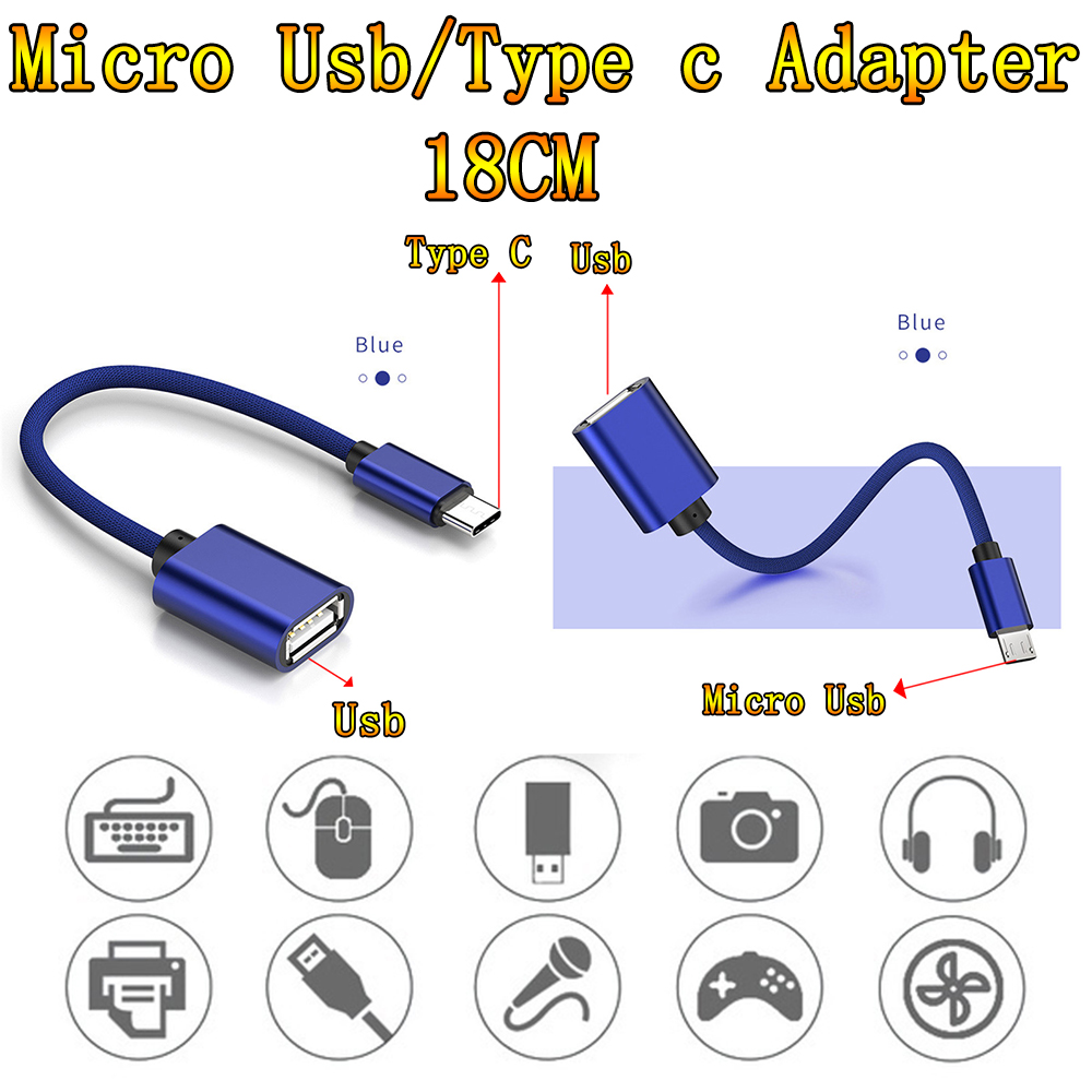 Type-C USB OTG Adapter Cablefor Samsung USB Female To Micro USB Male Converter For Android For IPhone For Laptop OTG Function