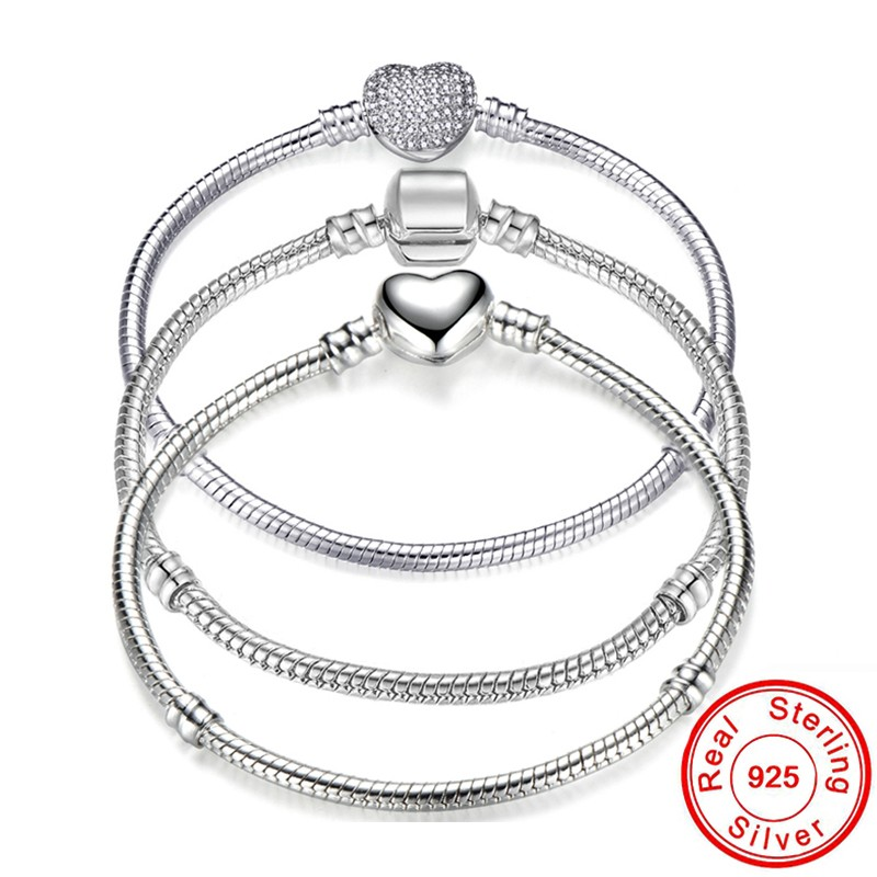 2020 Big Sale Charm <font><b>Pan</b></font> <font><b>Bracelets</b></font> for Women Original 925 <font><b>Sterling</b></font> <font><b>Silver</b></font> Heart Snake Chain Bangle <font><b>Bracelet</b></font> DIY Jewelry Fit Beads image