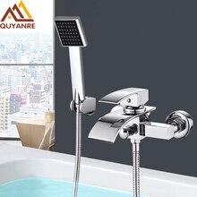 Quyanre хром водопад кран для ванной настенное крепление; водопад смеситель горячей и холодной воды кран для ванной душевой кран Robinet Baignoire