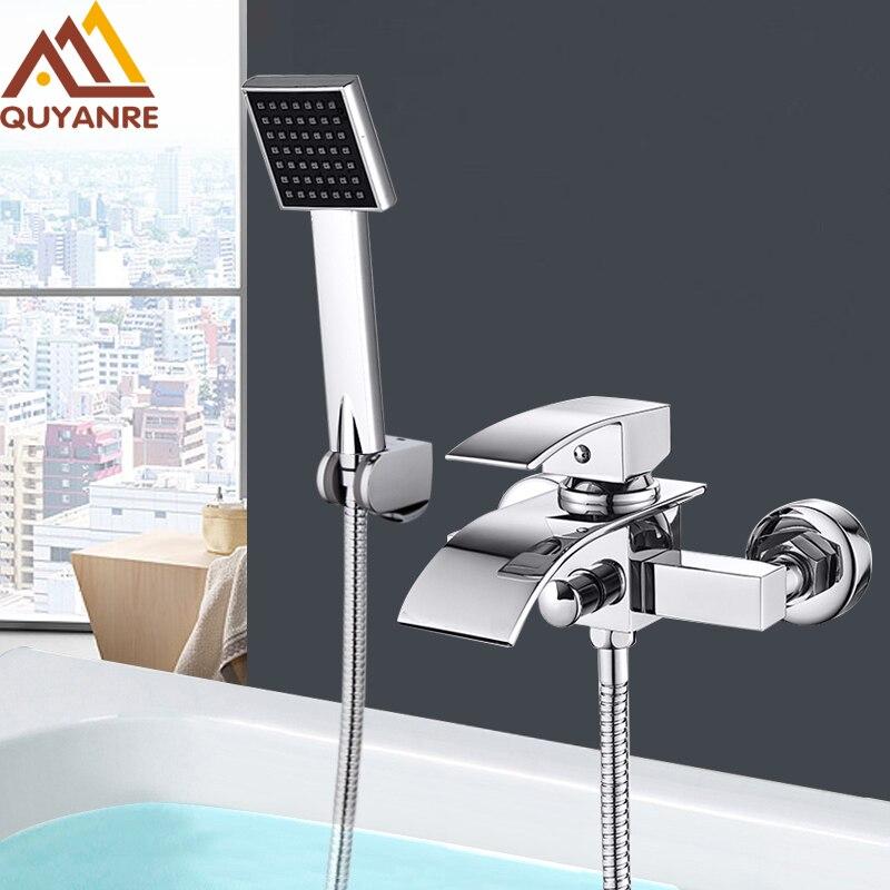 Grifo de cascada cromado para bañera de Quyanre, montaje en pared, mezclador de agua fría y caliente, grifo de ducha de baño, grifo Robinet Baignoire