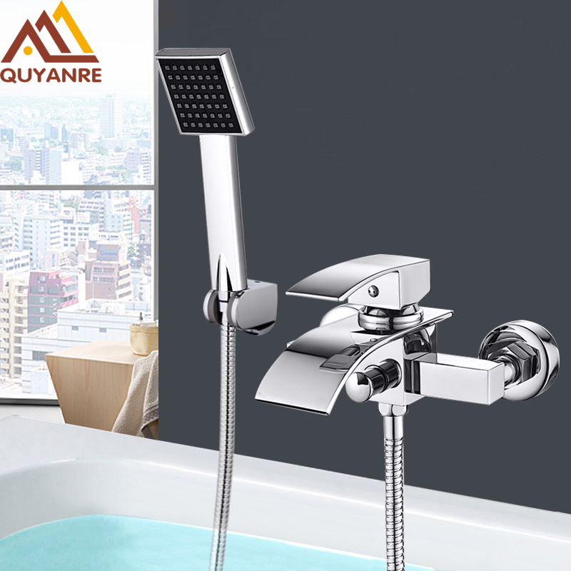 Quyanre Chrome Waterfall Bathtub Faucet Wall Mount Waterfall Hot Cold Water Mixer Tap Bath Shower Faucet Tap Robinet Baignoire(China)
