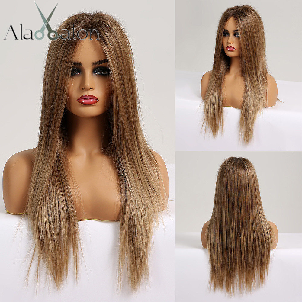 ALAN EATON Honey Brown Blonde Long Silky Straight Hair Synthetic Lace Front Wigs For Black Women Afro Middle Part Cosplay Wigs