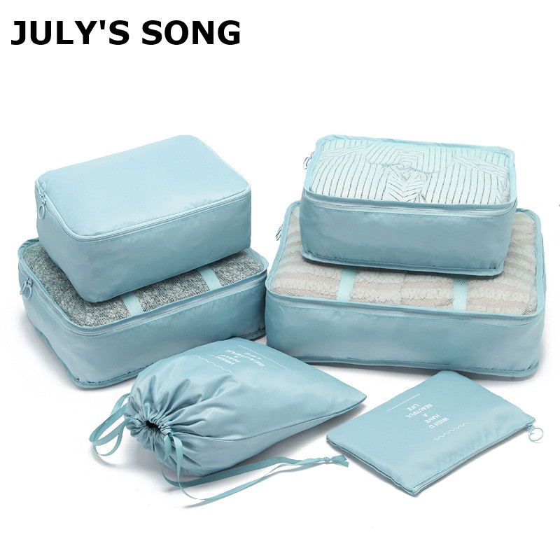 JULY'S SONG 6PCS Travel Bags Sets Waterproof Packing Cube Portable Clothing Sort Organizer Luggage Tote Durable Tidy Pouch Stuff